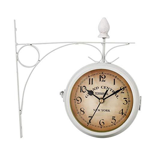 - SHANGXIAN Classic Retro Wall Clock European-Style Double-Sided Clock Hallway Home DéCor Wall Hanging Metal Quartz Clock,White