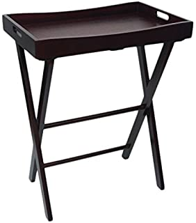 Lipper International LPPR9 504E Butler Tray With Right Height Luggage Rack  Stand, Espresso
