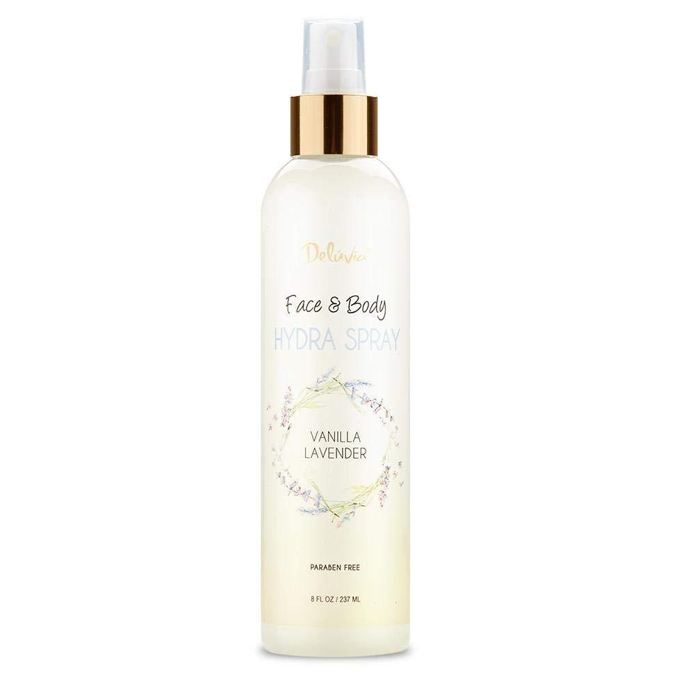 Moisturizing Body Spray and Face Mist with Essential Oils, Organic Aloe Vera, Dead Sea Salts, Provitamin A, Vitamin C. Alcohol Free, Paraben Free. Deluvia Hydra Spray (Vanilla Lavender)
