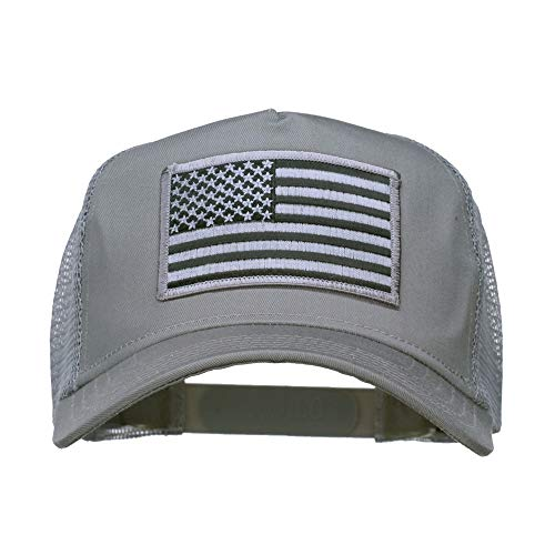 (e4Hats.com American Flag Patch 5 Panel Mesh Cap - Grey OSFM)