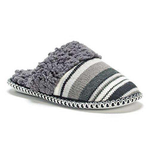 Muk LUKS Women's Fairisle Knit Scuff Stripe Mule Neutral