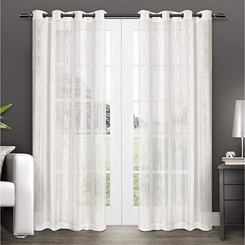 Exclusive Home Curtains Penny Window Curtain Panel Pair with Grommet Top, 50x96, Off- Off-white, 2 Piece