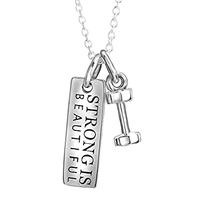 """YFN Sterling Silver """"Strong Is Beautiful"""" Inspirational Letters Engraved Charm Dumbbel Pendant Necklace"""
