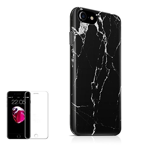iPhone 8 Case,iPhone 7 Case,iPhone 6 Case ,iPhone 6S Case,(4.7 inch) Obbii Unique Black Marble Design Hard Shell Solid PC Back+ Soft TPU Bumper Cover For iPhone 8/7/6/6S With Clear Screen Protector (Solid Marble)