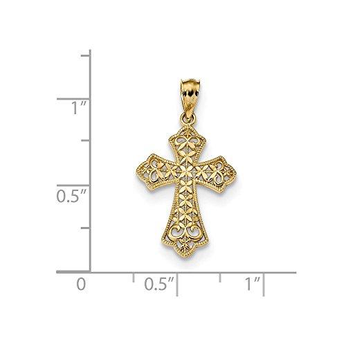14k Polished Filigree Cross Pendant 26.19 mm (14k Filigree Cross Pendant)
