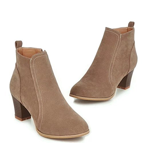 Ankle Closed Beige Suede Zippered Women's Western Toe Shoe Comfortable KingRover Faux Boots Boot qYg7zw7