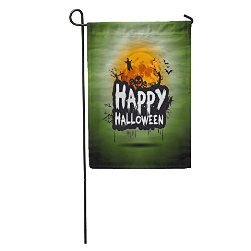 Semtomn Garden Flag Happy Halloween Night Sign Text Flying Moon Party Celebration Fall Home Yard House Decor Barnner Outdoor Stand 28x40 Inches Flag ()