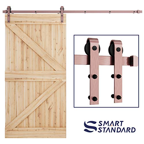 SMARTSTANDARD 8ft Heavy Duty Red Copper Sliding Barn Door Hardware Kit -Smoothly and Quietly-Easy to Install - Includes Step-by-Step Installation Instruction Fit 42