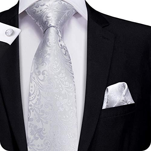 Mens Cufflinks Gray - Hi-Tie Mens Silver White Tie Necktie with Cufflinks and Pocket Square Tie Set