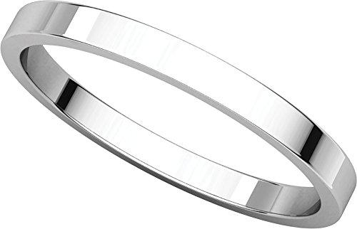 (Womens Platinum, Flat Wedding Band 2MM (sz 5))