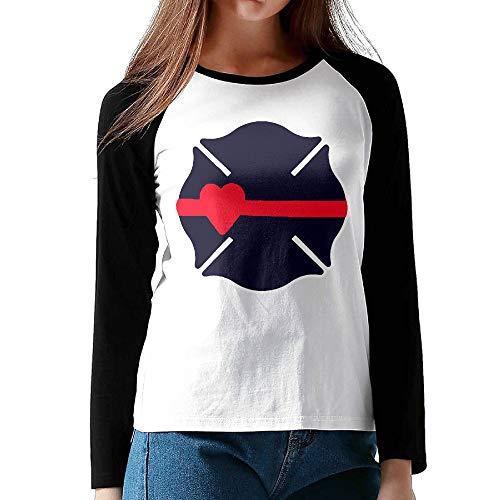 Women's Ladie's Raglan Long Sleeve Baseball Tee Shirt Maltese Cross Heart Thin Red Line Blouse Tops for Women