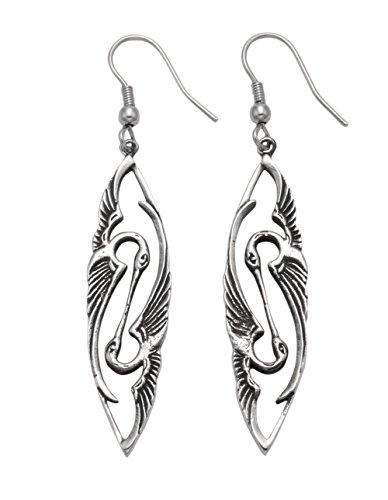 Stainless Steel Art Deco Kissing Heron Wire Earrings ()