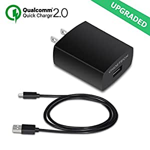 Quick Charge 2.0, [Qualcomm Certified Reversible USB Port] CHOE 18W USB Turbo Wall Charger Fast Charge Wireless Charger for Samsung Galaxy S7/S7 Edge/S6 Edge/Plus, Note 5 and more