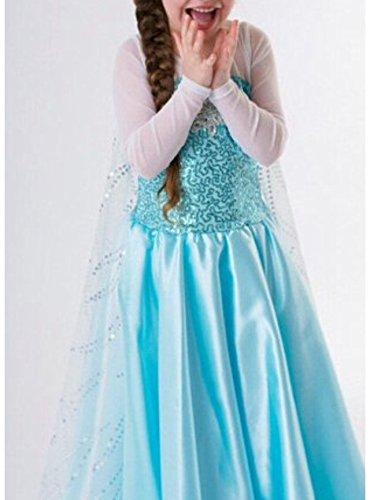 NICE SPORT Big Girls' Frozen Dress Princess Elsa Costume 140 cm (6-7 ans) Blue