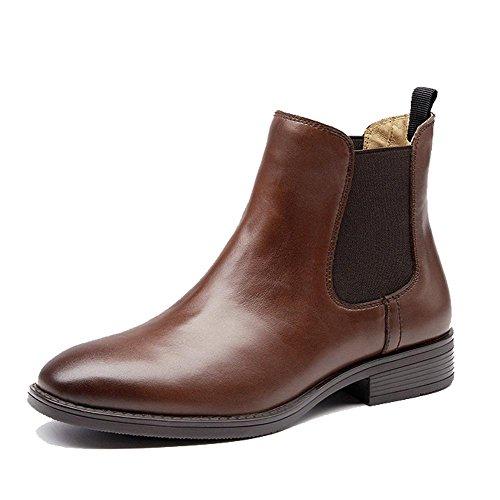 Schuhe Chelsea klobige Warme Komfort Knöchel Martin Lässige Low Stiefel 37 Flache Gefüttert Heels Frauen Leder BROWN S4UqOw