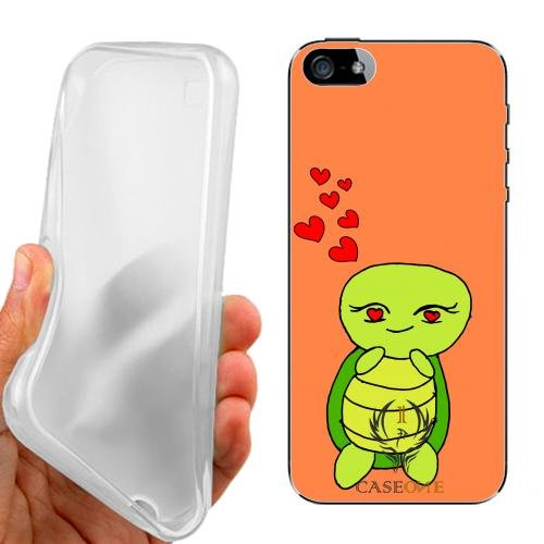 CUSTODIA COVER CASE CASEONE LOVE TURTLE PER IPHONE 5 5G 5S