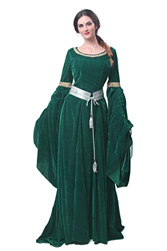 Nuoqi Women's Dark Green Victorian Dress Renaissance -