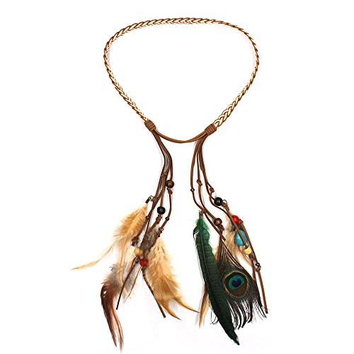 KisSealed Peacock Feather Headband Peacock Feather with Bead Braided for Wedding Party Travel and More (brown) - Easy Unique Homemade Halloween Costumes