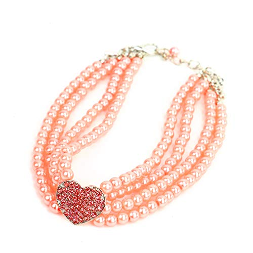 JETEHO 4 Row Pearls Rhinestones Heart Pendant Dog Necklace Collar Jewelry Pet Jewelry for Pets Cats Small Dogs (Pink)