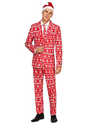 Suitmeister Christmas Suits for Men - Red Nordic - Ugly Xmas Sweater Costumes Include Jacket Pants & Tie + Free Hat - XXL (Ugly Christmas Xxl Suit)
