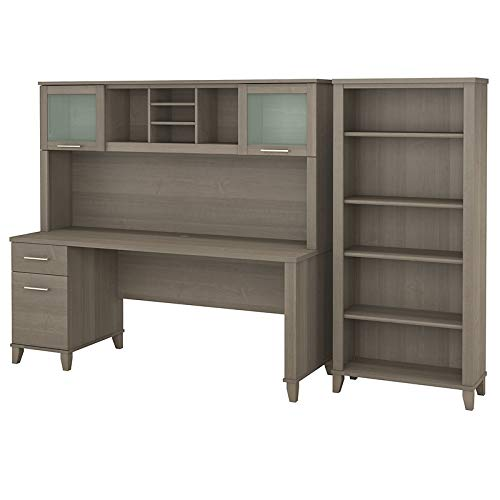 Bush Furniture Somerset 72W Office Desk with Hutch and 5 Shelf Bookcase in Ash Gray