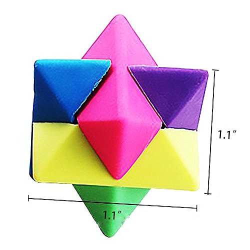Cube Puzzle Eraser, 3 Styles Mini Colorful Geometric 3D Shape Cube Puzzle Pencil Rubbers Building Blocks Erasers Photo #3
