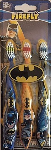 Firefly Batman Themed Toothbrushes, 3-Pack, Multicolored (Kids Toothbrushes Marvel)