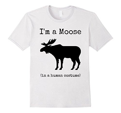 Male Moose Costume (Mens I'm a Moose in a Human Costume T-Shirt Medium White)