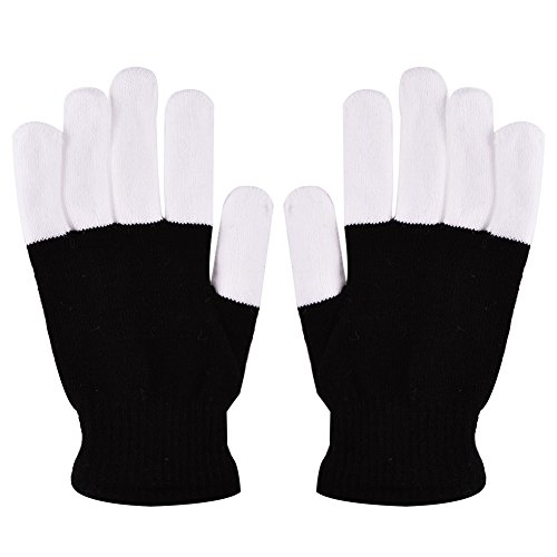 Lumiparty Blacked Out Gloves LED 6 Colors Light Show Gloves The Best Gloving & Lightshow Dancing Gloves for Clubbing, Rave, Birthday, EDM, Disco, and Dubstep Party