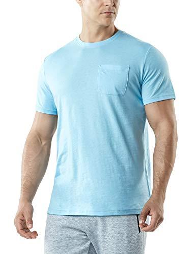 TSLA Men's FlexDri Short Sleeve T-Shirt Athletic Cool Running Top, Dyna Cotton Pocket(mts55) - Light Blue, X-Large (Boxing Womens Light T-shirt)