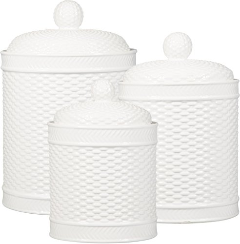 Home Essentials Set Of 3 White Round Basket Weave Embossed Canisters ()