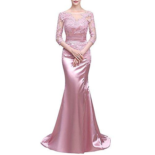 Charmant Damen Glaenzend Rosa Satin Herzausschnitt Abendkleider Partykleider Promkleider meerjungfrau Lang