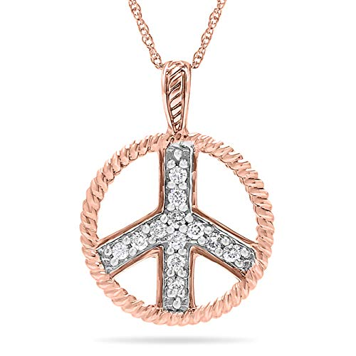 10k Rose Gold Designer Diamond Peace Sign Pendant Necklace, Birthstone of April, 18 Inch Chain.
