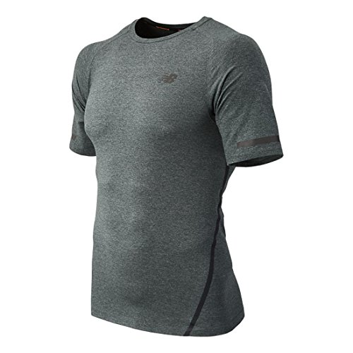 New Balance Men's Trinamic Short Sleeve Top, Heather Charcoal, Small by New Balance (Image #1)