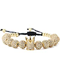 Luxury CZ Imperial Crown Braided Copper Bracelets with 8mm Micro Pave Cubic Zirconia Beads Pulseira Bangle Charm Jewelry for Women Men