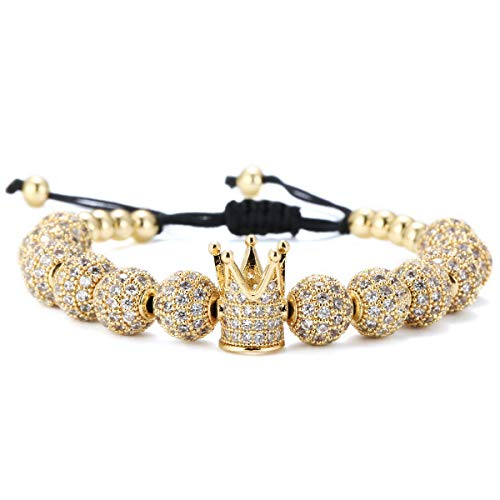 Gucci Bangle Bracelet - GVUSMIL Imperial Gold Crown 8mm Beads Bracelets Luxury CZ Italian Style Charm King Royal Bracelet for Men Women