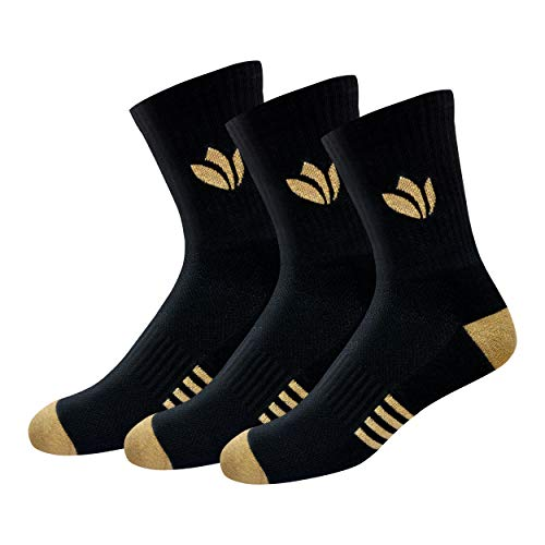 FRESH FEET Men's Cotton Crew Length Socks with All Day Cushion Comfort, Free Size, Pack of 3