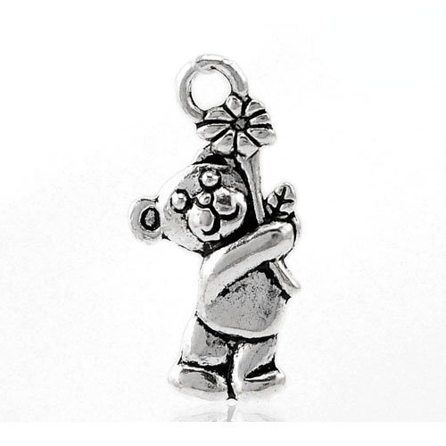 Gemstone Teddy Bear Charms - Packet of 12 x Antique Silver Tibetan 19mm Charms Pendants (Teddy Bear) - (ZX06145) - Charming Beads