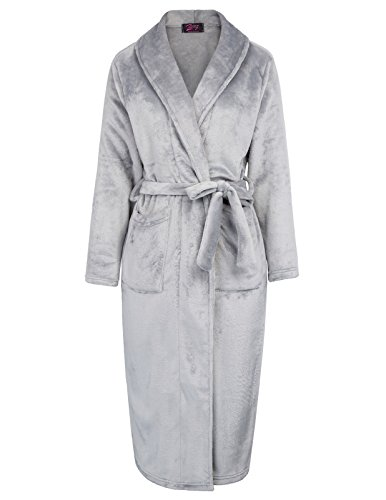Robe Womens Charmeuse (Women's Bridal Robe Pure Color Soft Charmeuse Fleece Robe Grey Size L ZE79-2)