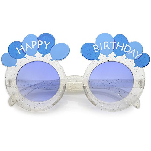 sunglassLA - Novelty Translucent Glitter Happy Birthday Glasses With Balloons Round Lens 45mm (Blue Clear/Blue) from sunglassLA