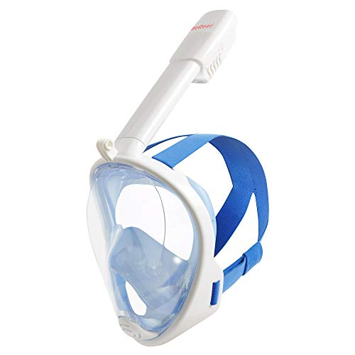 Full Face Snorkel - Snorkeling Mask Set New 2017 Design See 180 Degrees Underwater with New 4 Valve Anti Fog Technology Breathe Easy
