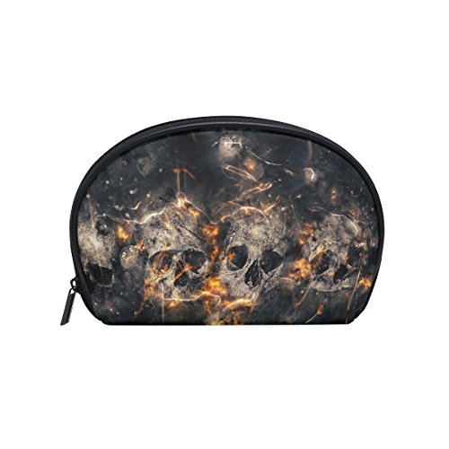 ALAZA Skull Fire Half Moon Cosmetic Makeup Toiletry Bag Pouch Travel Handy Purse Organizer Bag for Women Girls