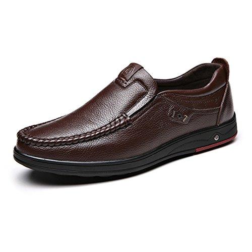 Sunny&Baby Classique Hommes Chaussures Véritable Cuir de Vache Supérieur Mocassin Semelle Souple Mocassin Résistant à l'abrasion (Couleur : Marron, Taille : 39 EU) Marron Foncé