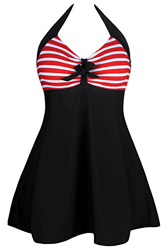 Retro-Sailor-Pin-Up-One-Piece-Swimsuit-Halter-Neck-Skirtini-Swimdress-with-Bodyshorts-Blackred-XL
