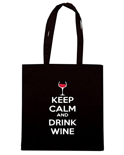 T-Shirtshock - Bolsa para la compra BEER0251 Keep-Calm-and-drink-wine-Magliette Negro