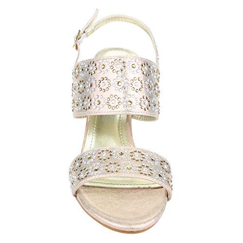 Aarz Mujeres del partido de tarde de las señoras de la boda Prom medio talón de Diamante de la sandalia tamaño de los zapatos (Oro, Plata, Champagne) Champagne