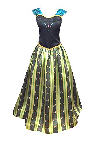 Adult Women Princess Elsa Anna Coronation Dress Costume (3XL, Olive Green) -