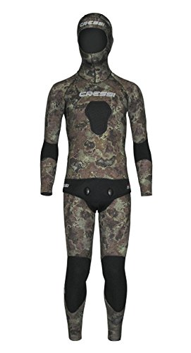 3.5mm Cressi Sub Mens 2 Piece FreeDiving Spear Fishing Camo Tecnica Wetsuit ()
