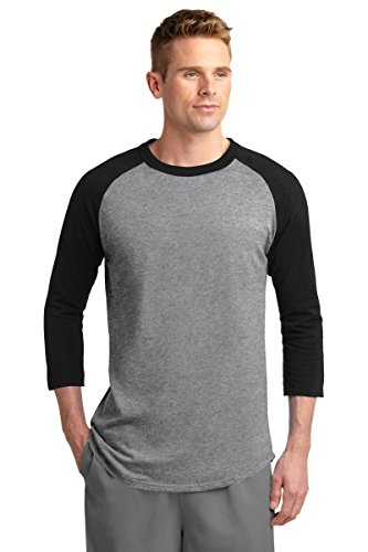 3/4 Sleeve Athletic Sport Shirt (Sport-Tek Colorblock Raglan Jersey. - Small - Heather)