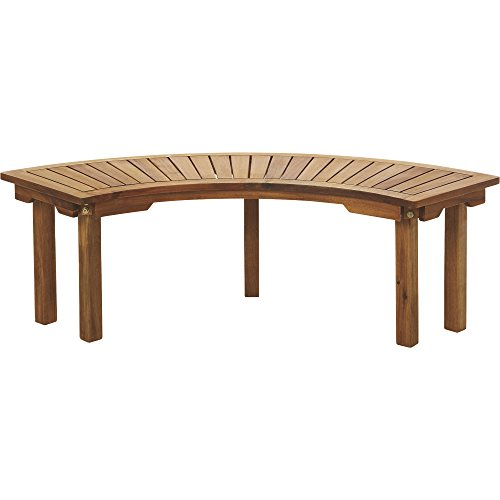 Curved Acacia Wood Backless Bench - Natural